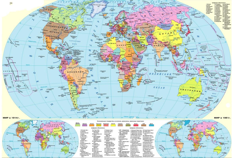 Карта Мира со странами на русском языке. Крупно на весь экран